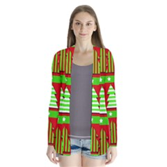 Christmas trees pattern Drape Collar Cardigan