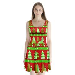 Christmas trees pattern Split Back Mini Dress