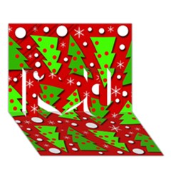 Twisted Christmas trees I Love You 3D Greeting Card (7x5)