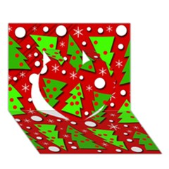 Twisted Christmas trees Heart 3D Greeting Card (7x5)