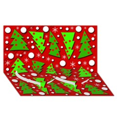 Twisted Christmas trees Twin Heart Bottom 3D Greeting Card (8x4)