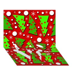 Twisted Christmas trees LOVE Bottom 3D Greeting Card (7x5)
