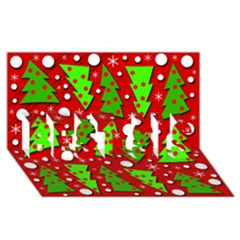 Twisted Christmas trees BEST SIS 3D Greeting Card (8x4)