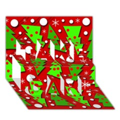 Twisted Christmas Trees Take Care 3d Greeting Card (7x5)