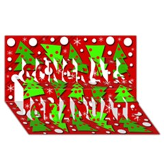 Twisted Christmas trees Congrats Graduate 3D Greeting Card (8x4)