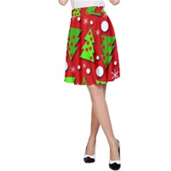 Twisted Christmas trees A-Line Skirt