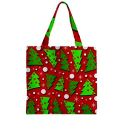 Twisted Christmas trees Zipper Grocery Tote Bag