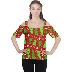 Twisted Christmas Trees Women s Cutout Shoulder Tee
