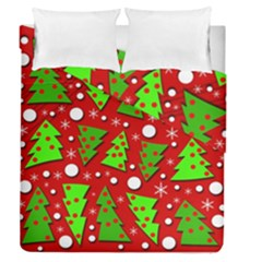 Twisted Christmas Trees Duvet Cover Double Side (queen Size)