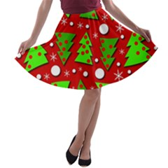 Twisted Christmas trees A-line Skater Skirt