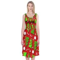 Twisted Christmas Trees Midi Sleeveless Dress