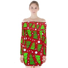 Twisted Christmas trees Long Sleeve Off Shoulder Dress