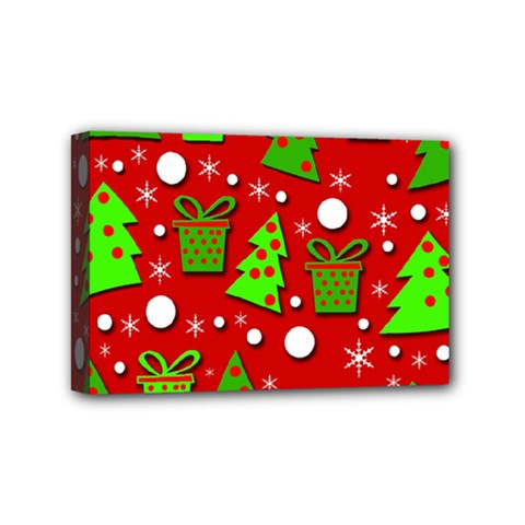 Christmas trees and gifts pattern Mini Canvas 6  x 4