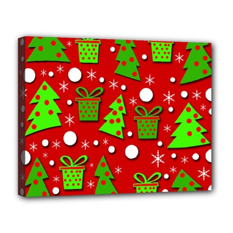 Christmas trees and gifts pattern Canvas 14  x 11