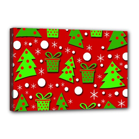 Christmas trees and gifts pattern Canvas 18  x 12