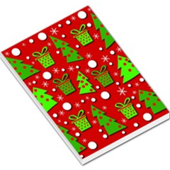 Christmas trees and gifts pattern Large Memo Pads