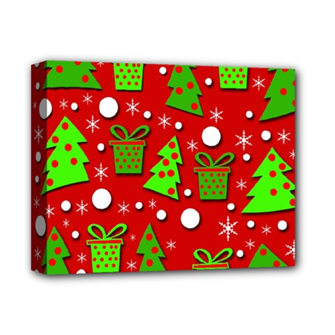 Christmas trees and gifts pattern Deluxe Canvas 14  x 11