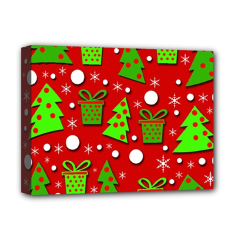 Christmas trees and gifts pattern Deluxe Canvas 16  x 12