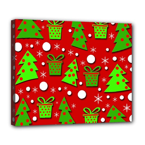 Christmas trees and gifts pattern Deluxe Canvas 24  x 20