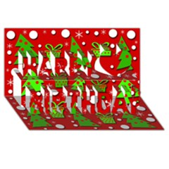 Christmas trees and gifts pattern Happy Birthday 3D Greeting Card (8x4)