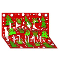 Christmas trees and gifts pattern Best Friends 3D Greeting Card (8x4)