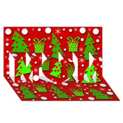 Christmas trees and gifts pattern MOM 3D Greeting Card (8x4)