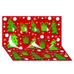 Christmas trees and gifts pattern Twin Hearts 3D Greeting Card (8x4)