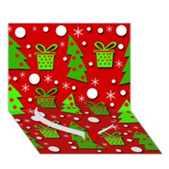 Christmas trees and gifts pattern Heart Bottom 3D Greeting Card (7x5)