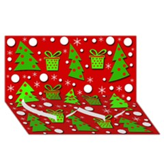 Christmas trees and gifts pattern Twin Heart Bottom 3D Greeting Card (8x4)