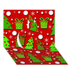 Christmas trees and gifts pattern Apple 3D Greeting Card (7x5)