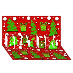 Christmas trees and gifts pattern BEST BRO 3D Greeting Card (8x4)