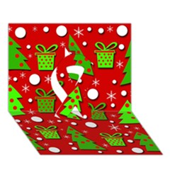 Christmas trees and gifts pattern Ribbon 3D Greeting Card (7x5)