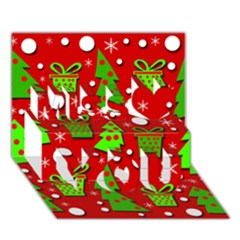 Christmas Trees And Gifts Pattern Miss You 3d Greeting Card (7x5)