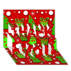 Christmas trees and gifts pattern THANK YOU 3D Greeting Card (7x5)