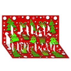 Christmas trees and gifts pattern Laugh Live Love 3D Greeting Card (8x4)