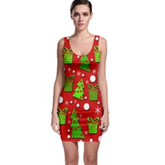 Christmas trees and gifts pattern Sleeveless Bodycon Dress
