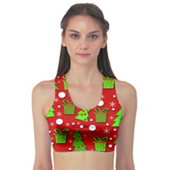Christmas trees and gifts pattern Sports Bra