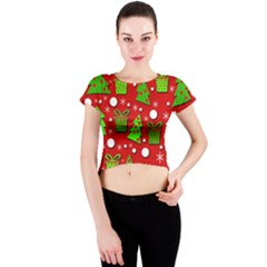 Christmas trees and gifts pattern Crew Neck Crop Top