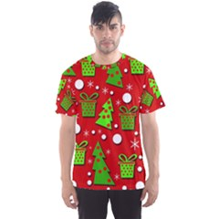 Christmas trees and gifts pattern Men s Sport Mesh Tee