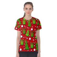 Christmas trees and gifts pattern Women s Cotton Tee