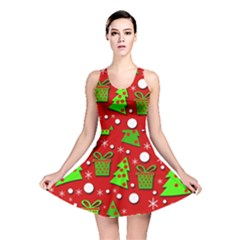 Christmas trees and gifts pattern Reversible Skater Dress