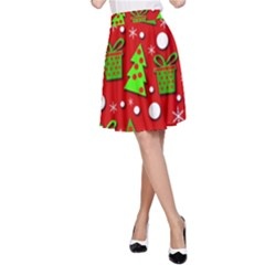 Christmas trees and gifts pattern A-Line Skirt