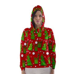 Christmas trees and gifts pattern Hooded Wind Breaker (Women)