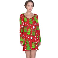 Christmas trees and gifts pattern Long Sleeve Nightdress