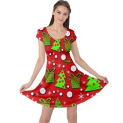 Christmas trees and gifts pattern Cap Sleeve Dresses