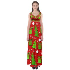 Christmas trees and gifts pattern Empire Waist Maxi Dress
