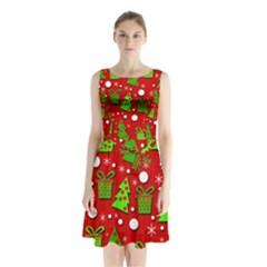 Christmas Trees And Gifts Pattern Sleeveless Chiffon Waist Tie Dress