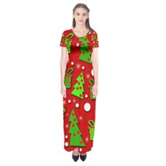 Christmas trees and gifts pattern Short Sleeve Maxi Dress