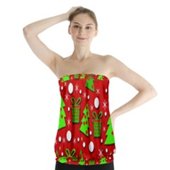 Christmas trees and gifts pattern Strapless Top