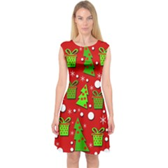 Christmas trees and gifts pattern Capsleeve Midi Dress